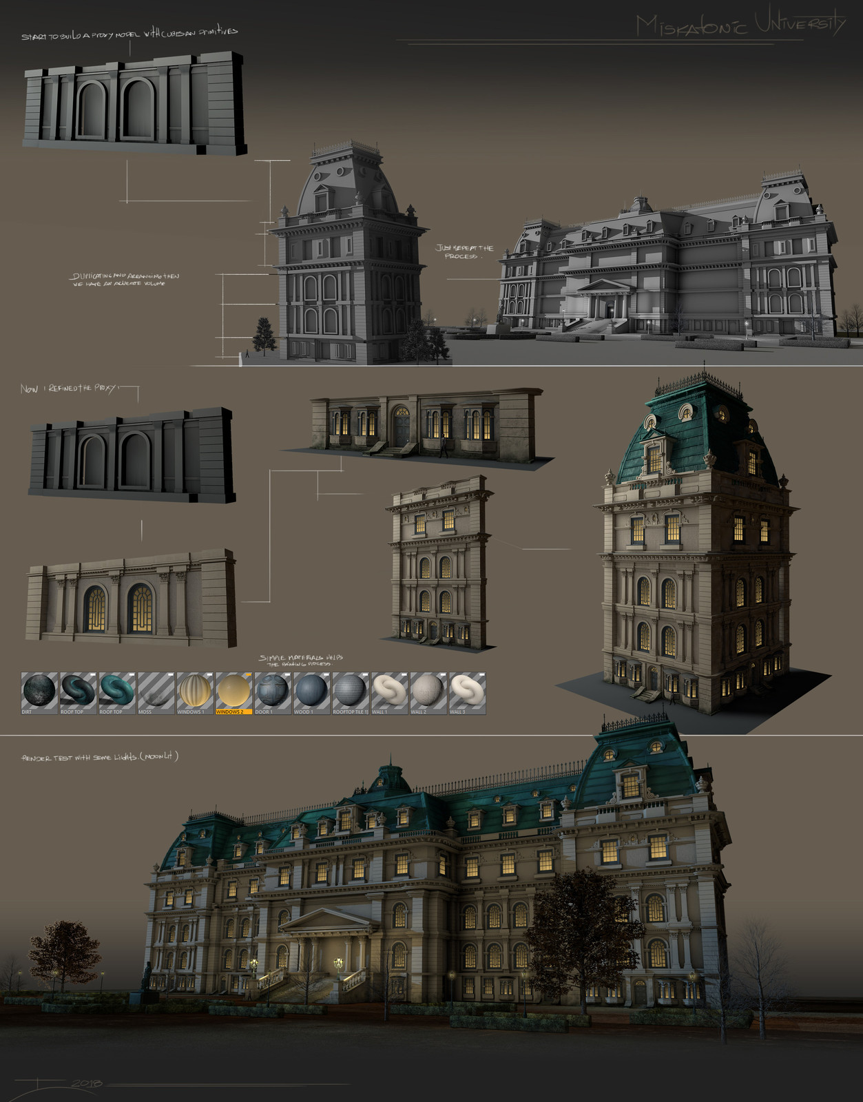 A bit of the modeling / texturing process, to generate passes and compose than into photoshop.
