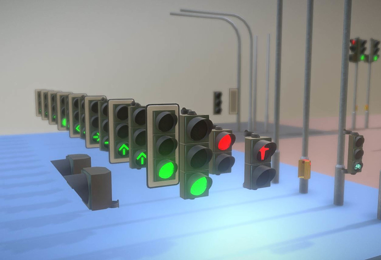 The animated traffic light modules.