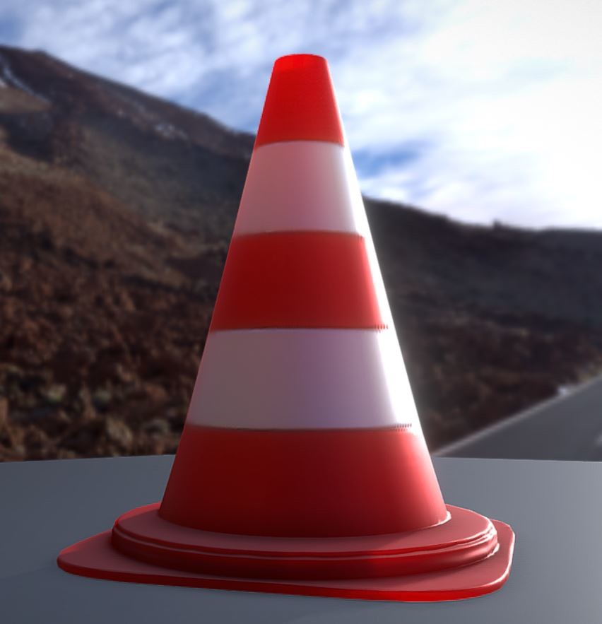 Traffic cones low poly pylons.