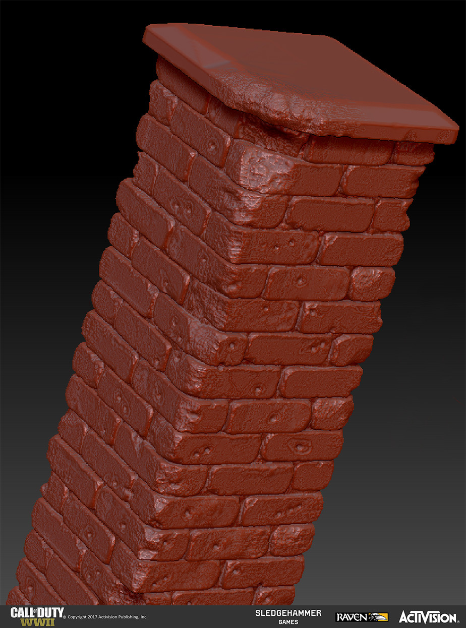 Created damaged brick column model in Z-Brush; in this image the top cap was created as a separate sub-tool to allow for vertical tiling of the brick model where necessary.