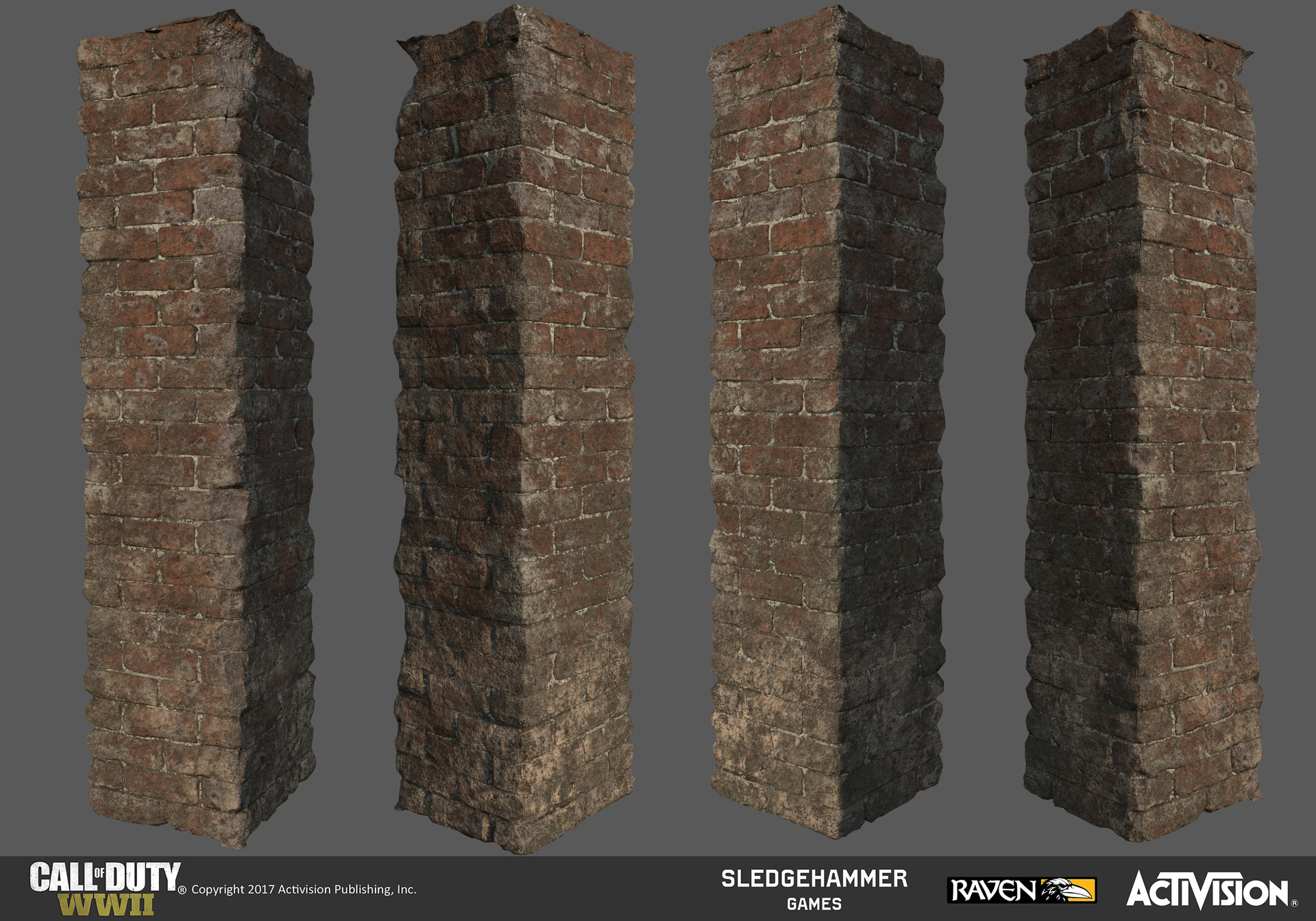 Damaged brick column model after I textured it in Substance Painter.