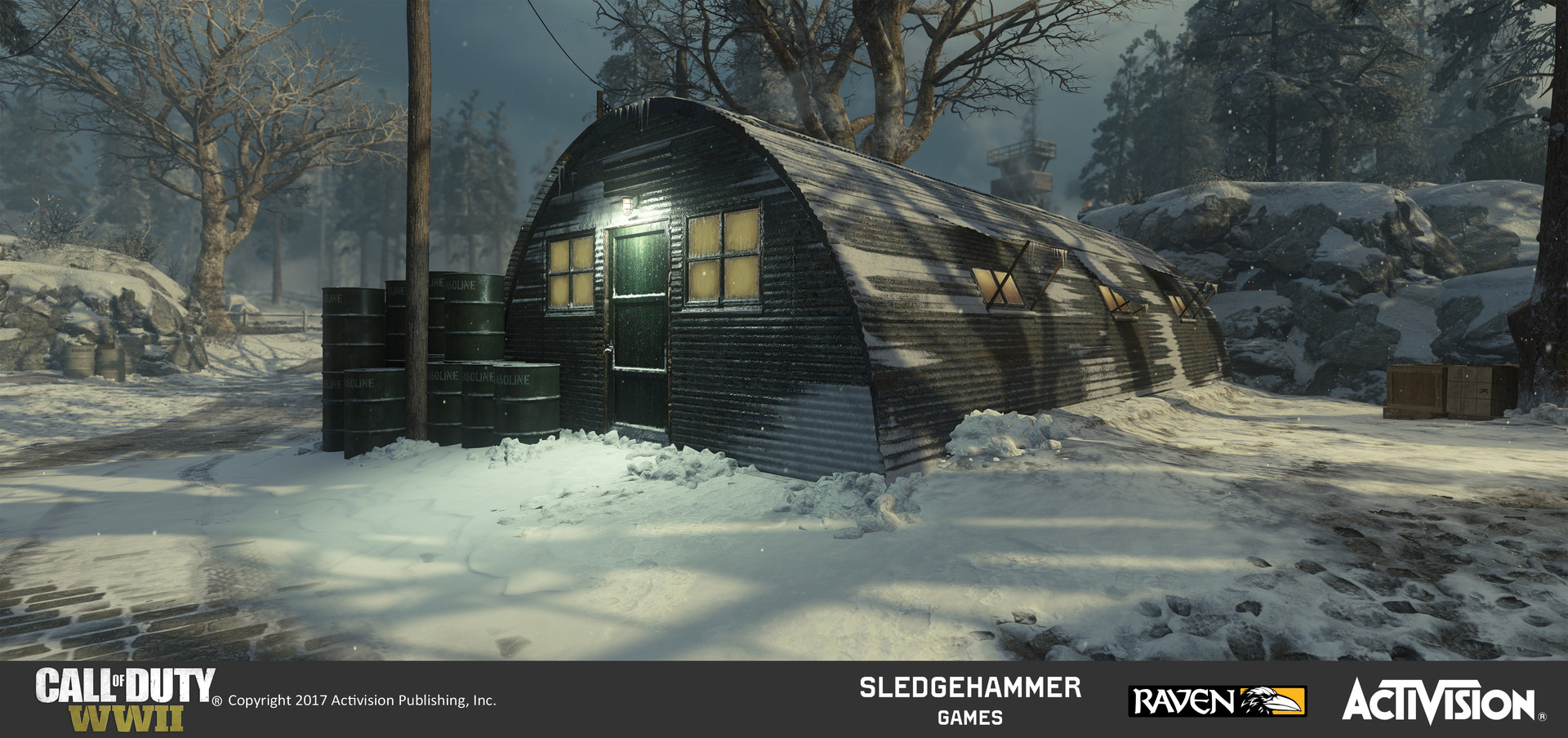 Quonset huts: Finished model of Quonset hut model in map after creating and painting its materials in Substance painter. Also responsible for terrain work in entire area around it.
