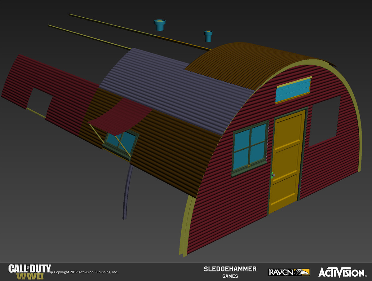 Quonset huts: This is the high-poly model for the Quonset hut. These are the unique pieces that were created. The majority of the curved corrugation was kept intact in the low poly to add subtle silhouette value and make the metal very believable.
