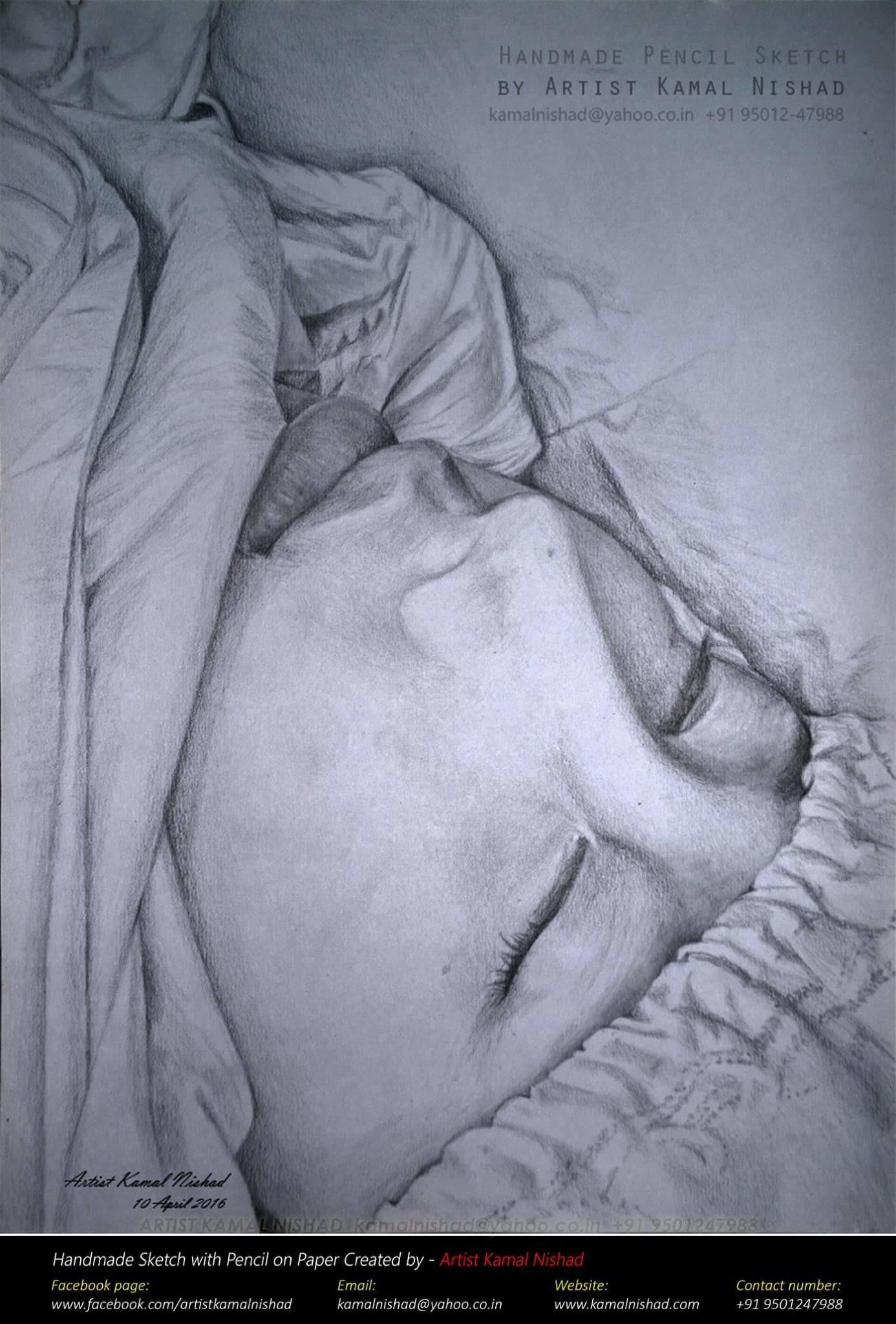 Chinese sleeping beauty pencil charcoal sketch by artist kamal nishad