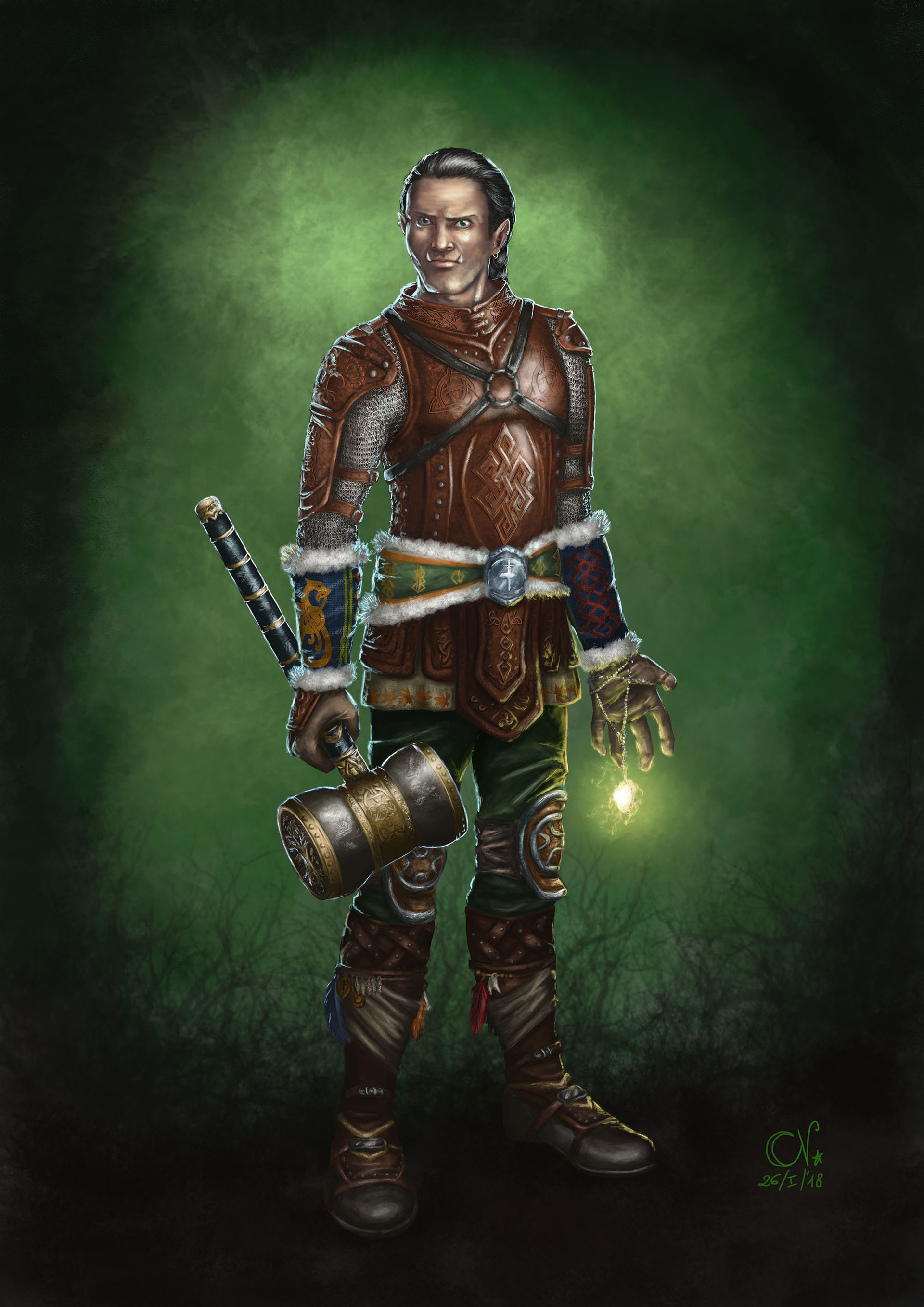 Armored Half Orc Hero Concept Art