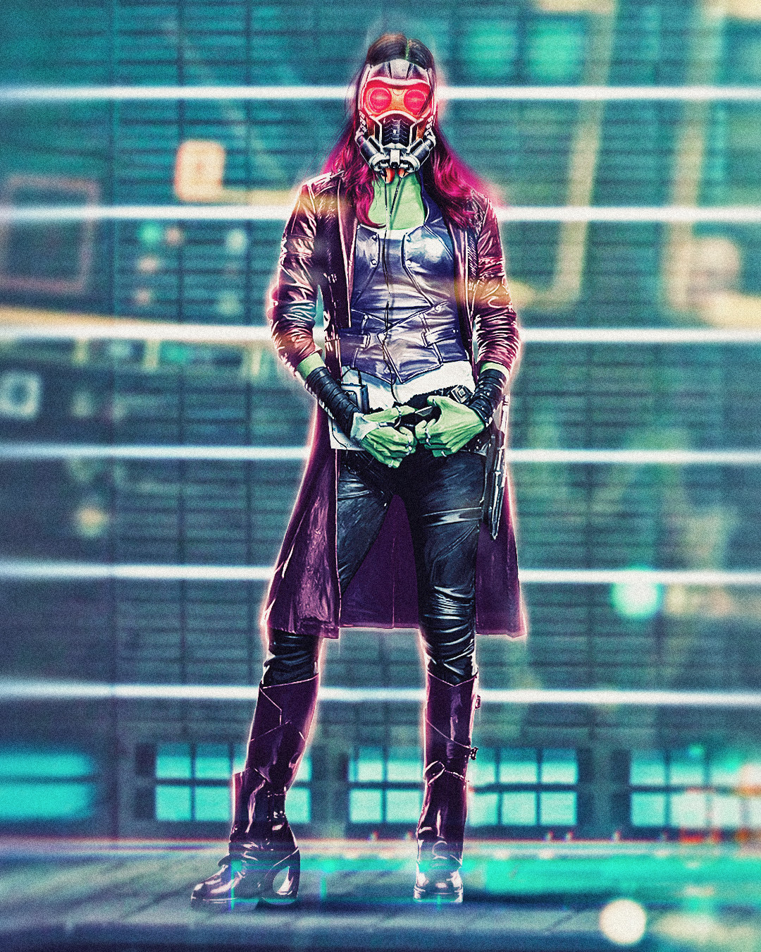 Gamora with Star-Lord's mask