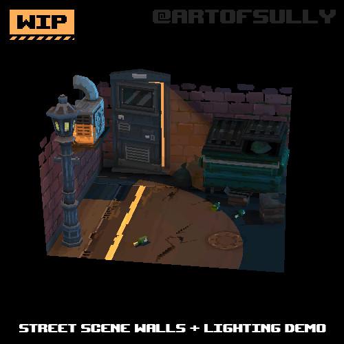 3D Pixel-Art Street Scene Walls + Lighting Demo (WIP) (Commission)