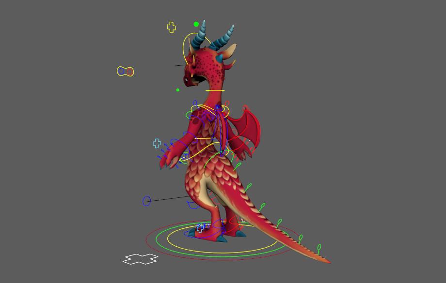 ArtStation - Red Dragon Free Rig, Elise Mathez