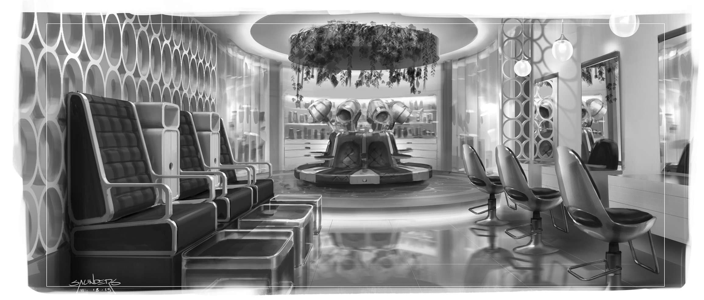 Probably the closest of any to the final design as seen in the film. A few design elements were retained, such as the circular pattern on the wall and the hanging plants over the circular dias
