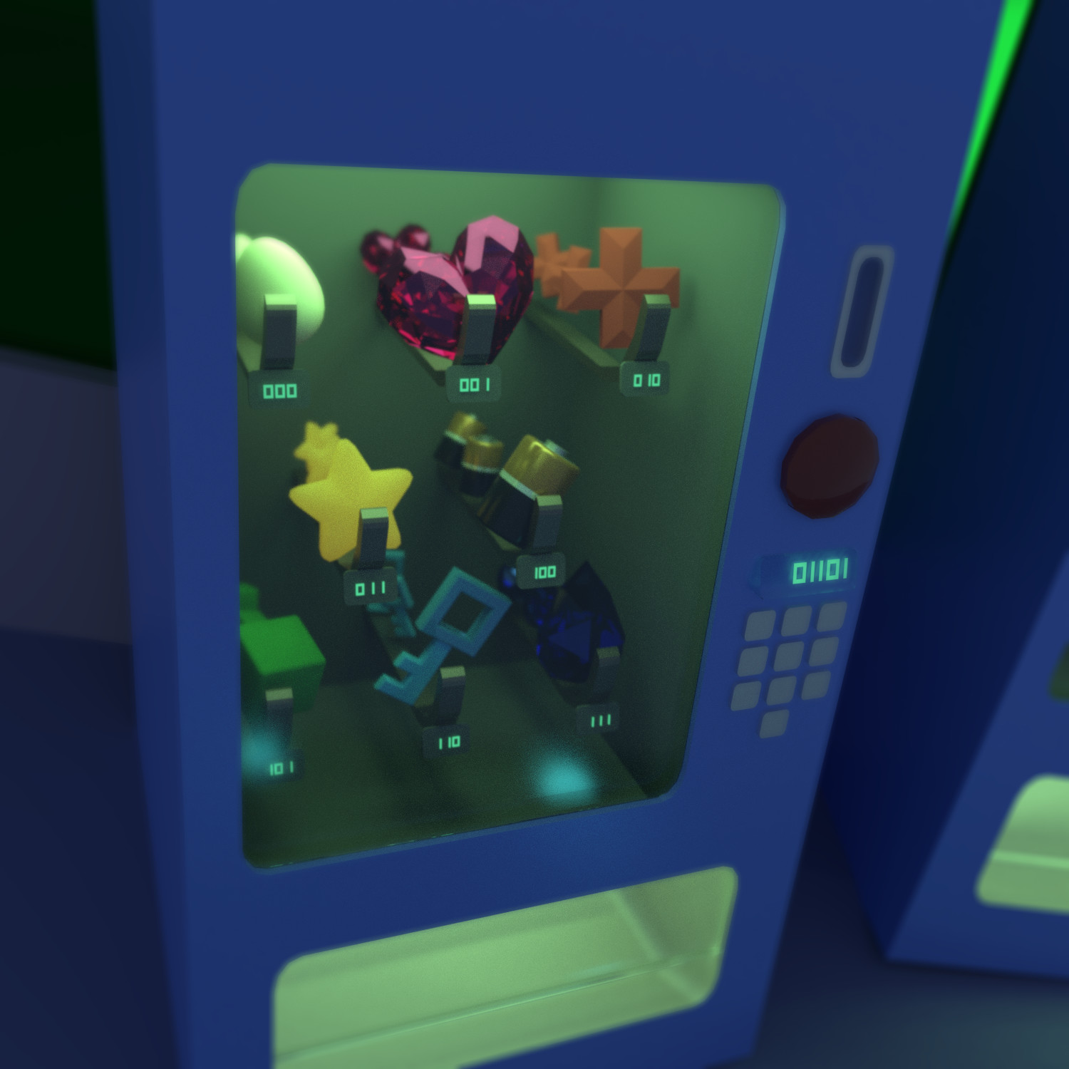 Close-up of vending machines with generic power-ups. I wanted a fun sci-fi way to represent each item and decided to use binary values, but this really made most of the buttons on the keypad entirely useless. I left it in because I found it amusing :)