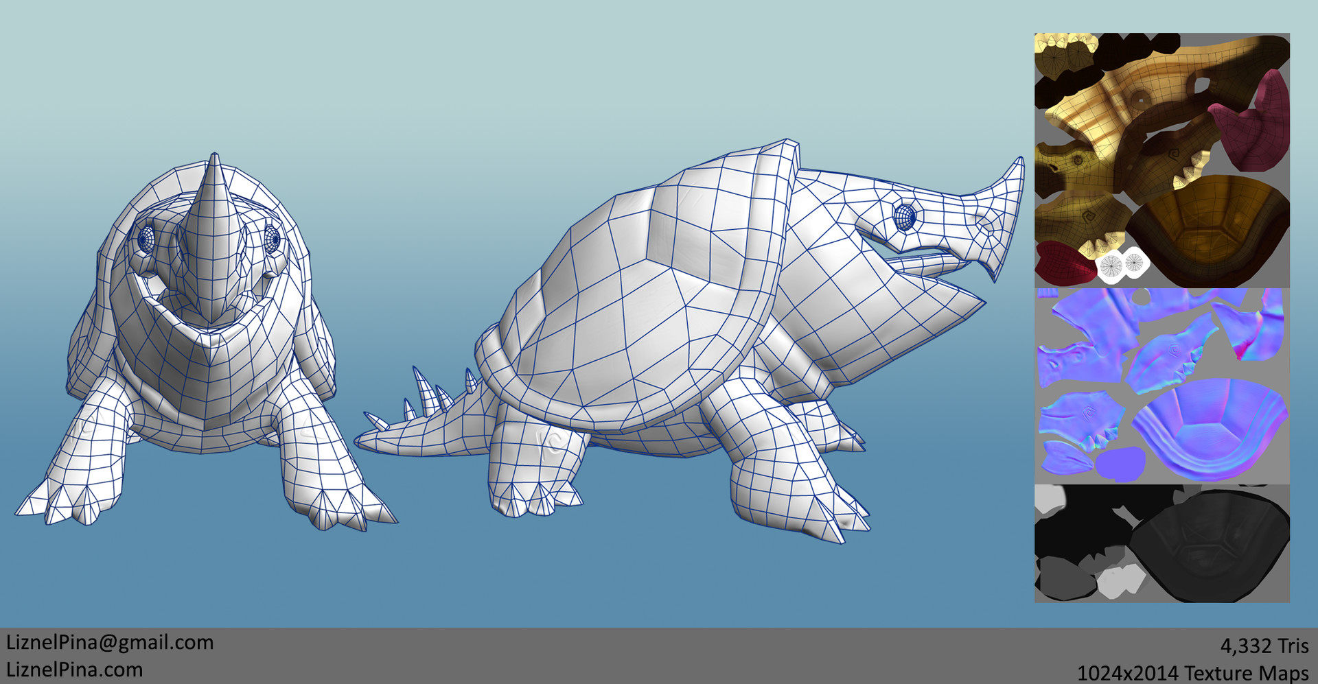 Liznel pina turtle renders wireframe