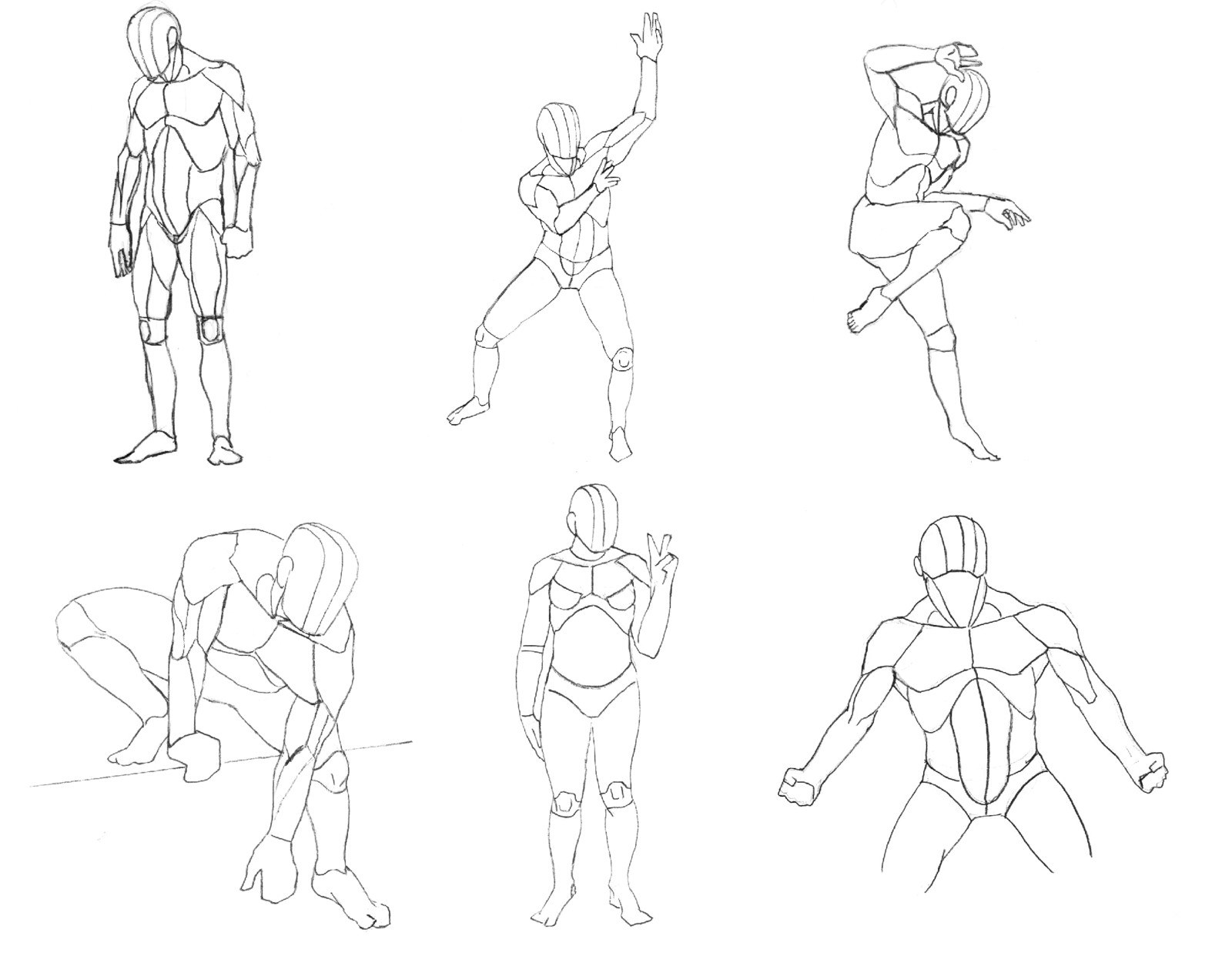 Different poses with varying levels of detail for different muscle groups.