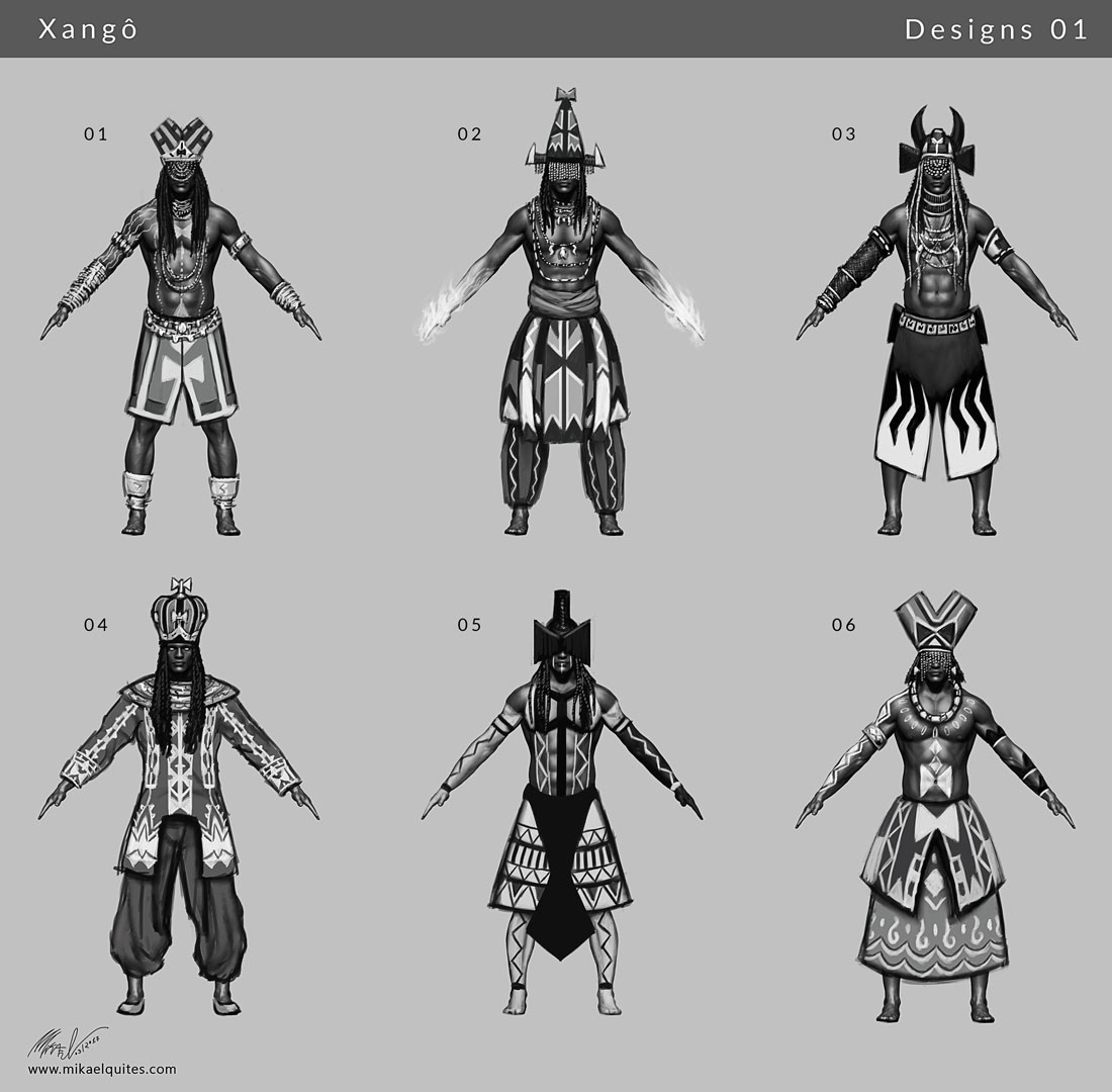 First batch of concepts. Trying to find the right balance between prince/fire and thunder deity/warrior