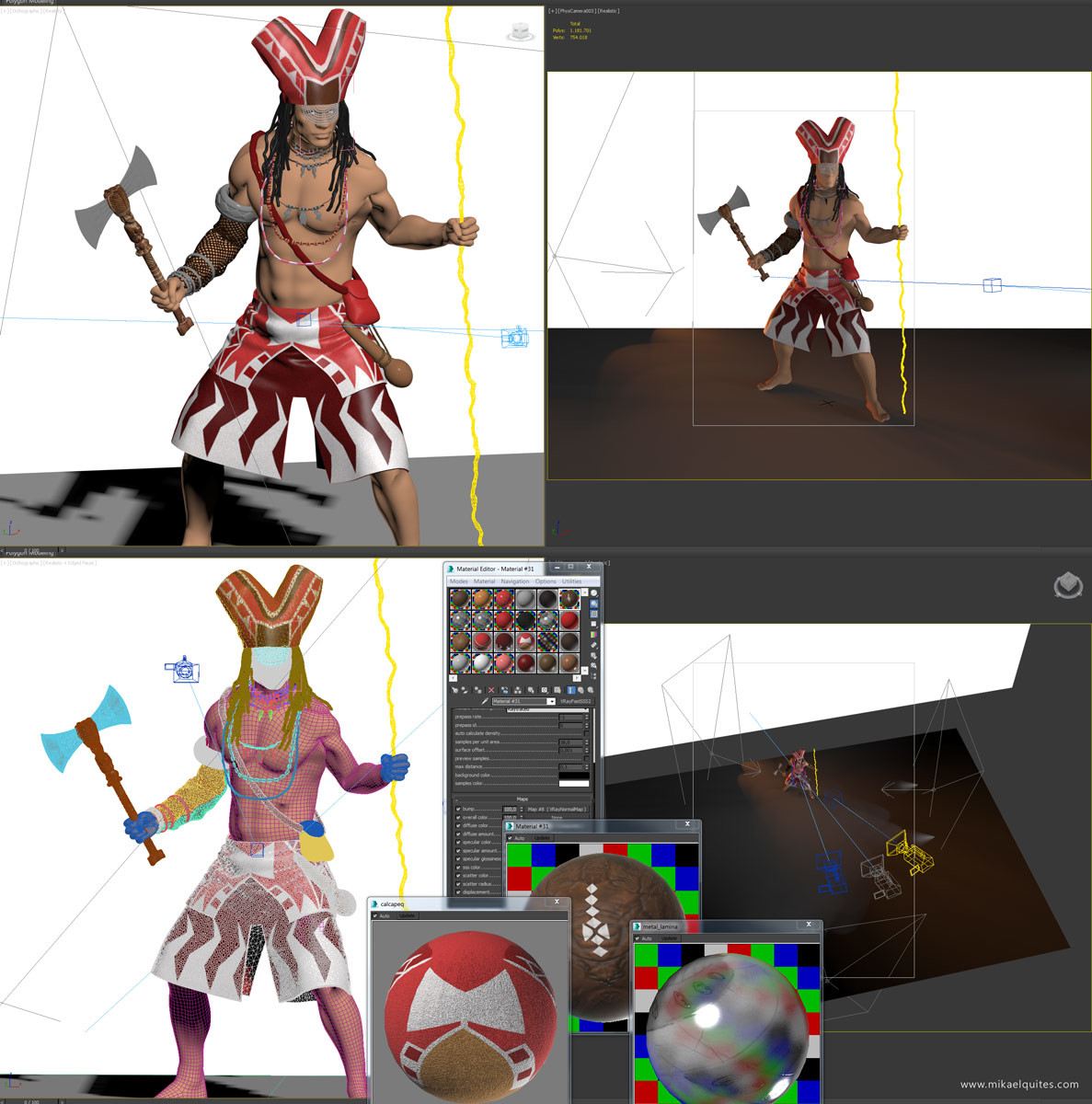 3ds Max viewports, showing some shaders and lighting setup