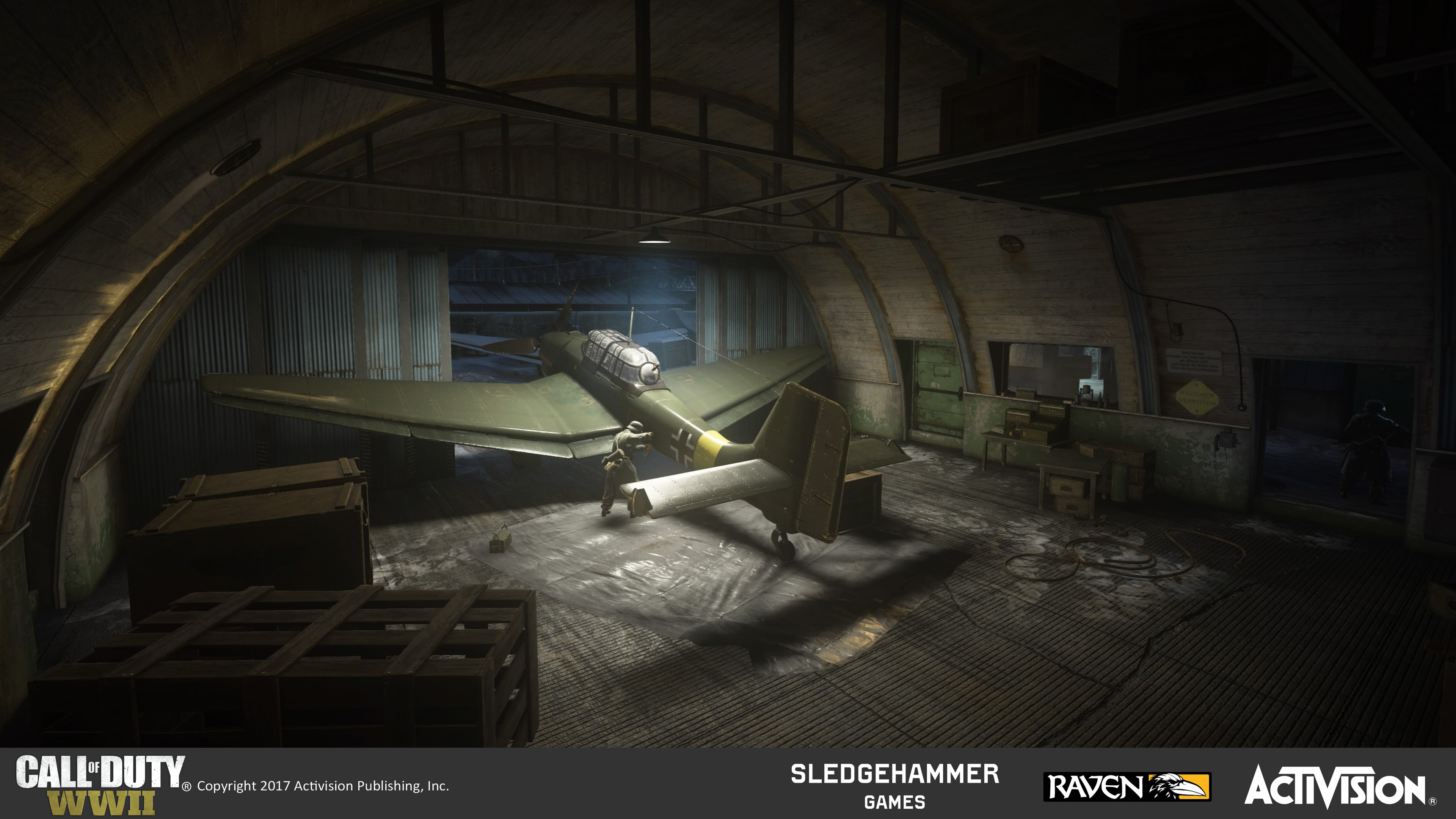 Small airplane hangar interior. Responsible for world building which included set-dressing, terrain and architecture construction, as well as material blend treatments utilizing custom and pre-existing materials.