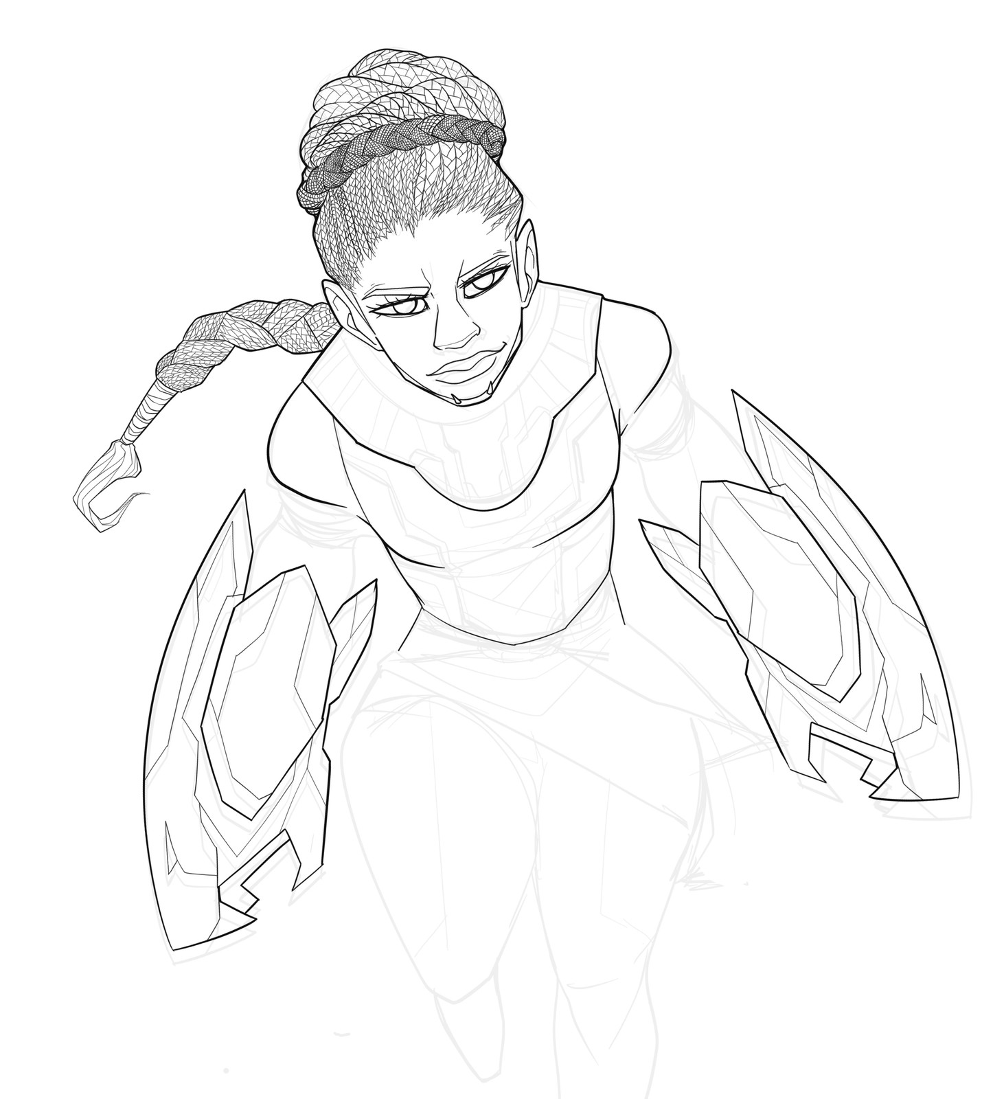 Final clean linework- lord almighty, braids are hard as hell.