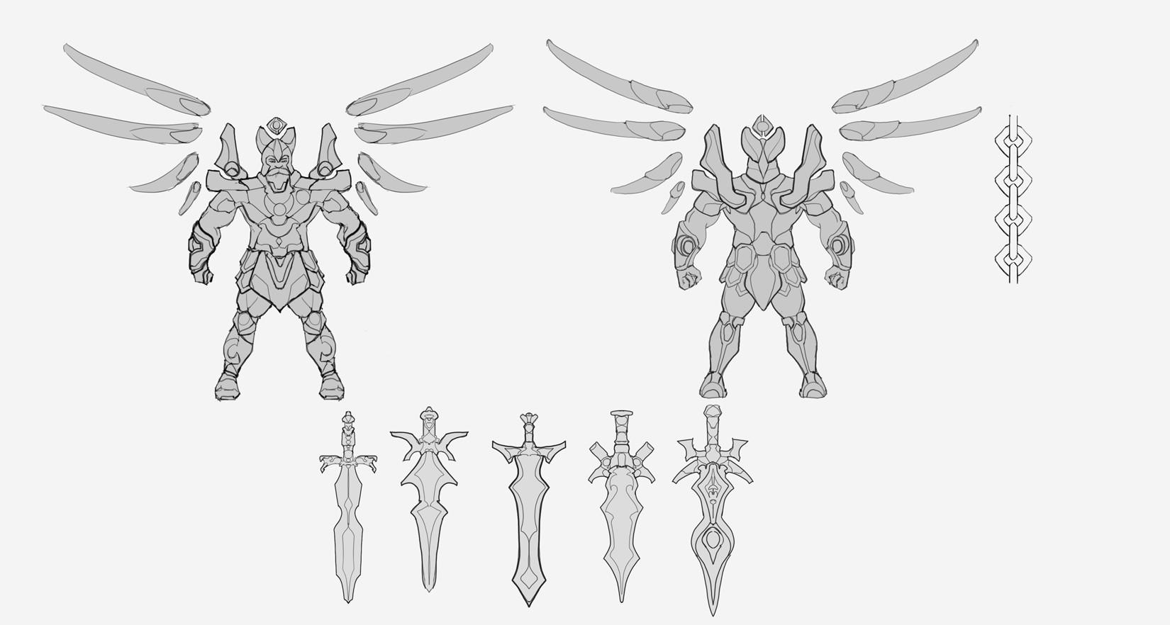 Danny kundzinsh art war archangel concept sheet linework