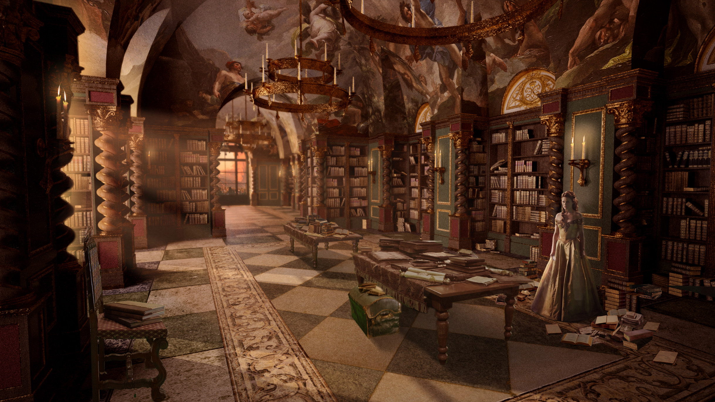I worked over top of Doug MaClean's 3D to add furniture and lighting to Rumple's Salon