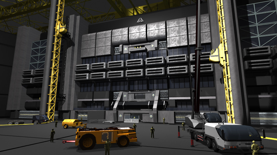 3D Hangar Design Texturing and Graphics Concept for ScyFy's Eureka Season 5.