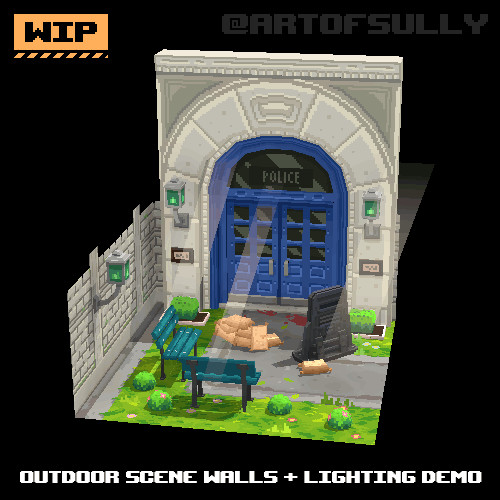 3D Pixel-Art Outdoor Scene Walls + Lighting Demo (WIP) (Commission)