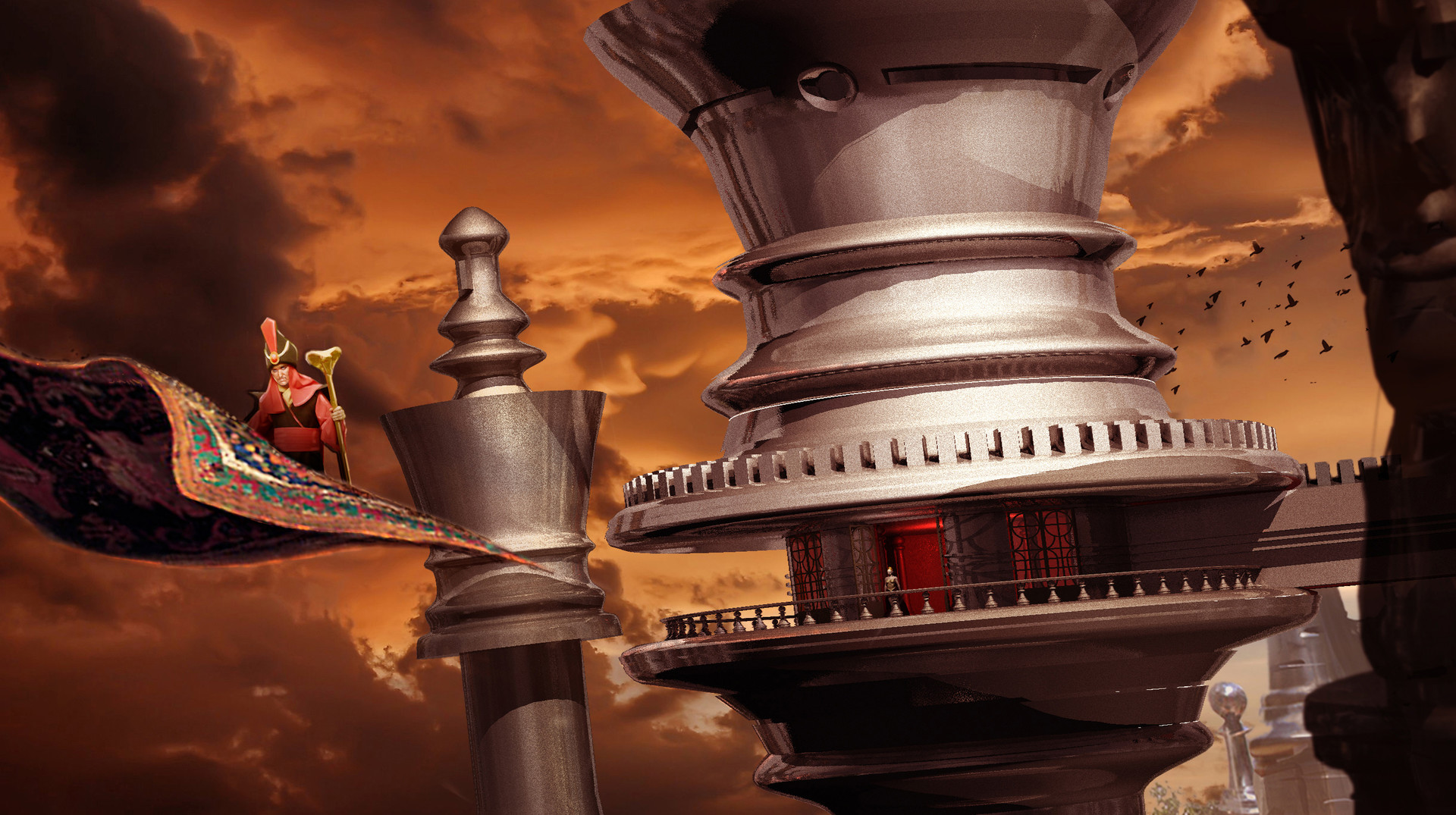 3D Chess Piece City Concept for ABC's Once Upon a Time in Wonderland