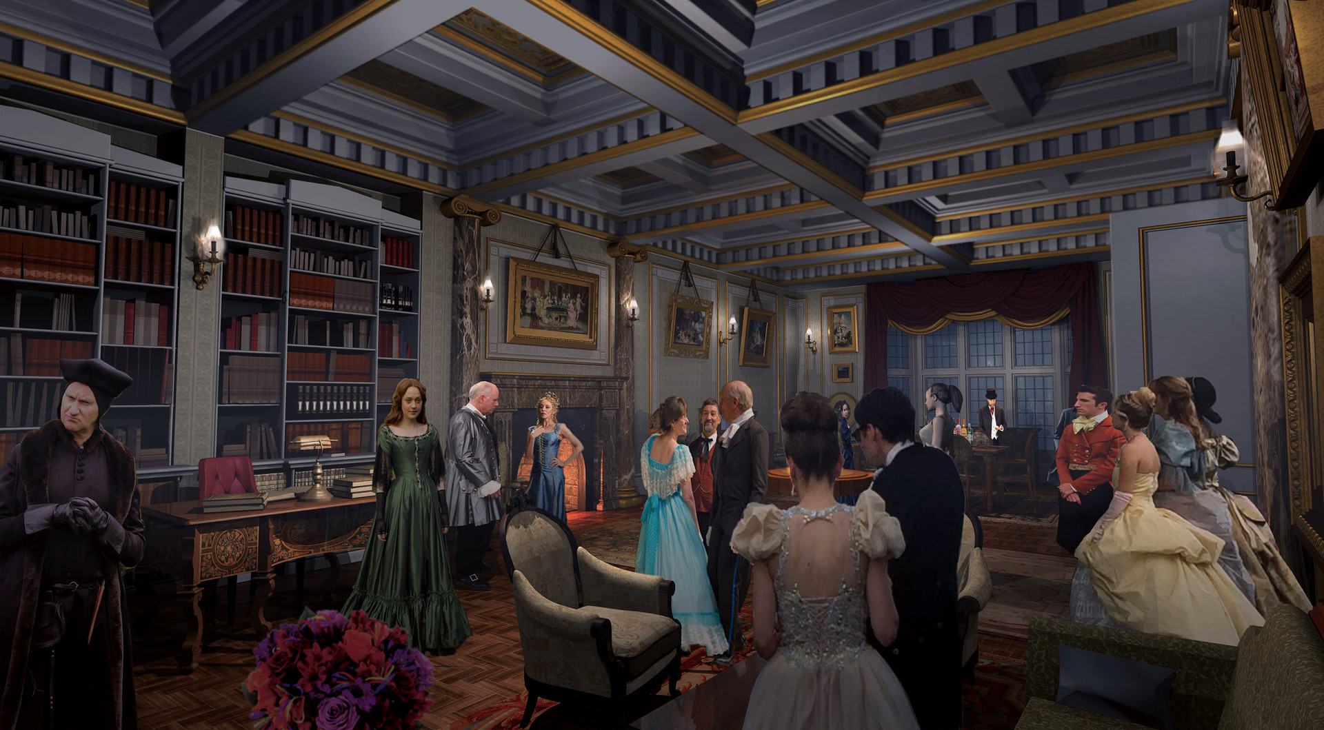 3D Victorian London Apartment Interior with 2D People Cards / Once Upon a Time Season 6