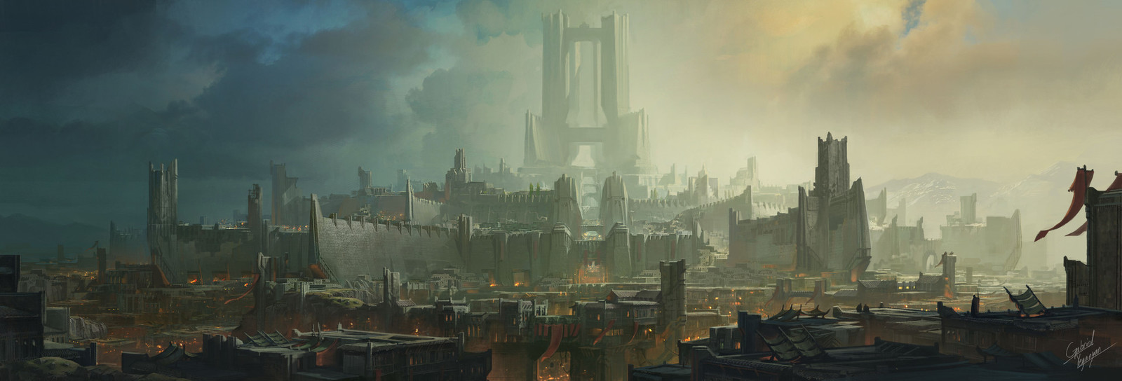 Time was really limited, but opportunistically, Gabriel Yeganyan already painted this background of Noxus and the immortal bastion for the World-Building team. 