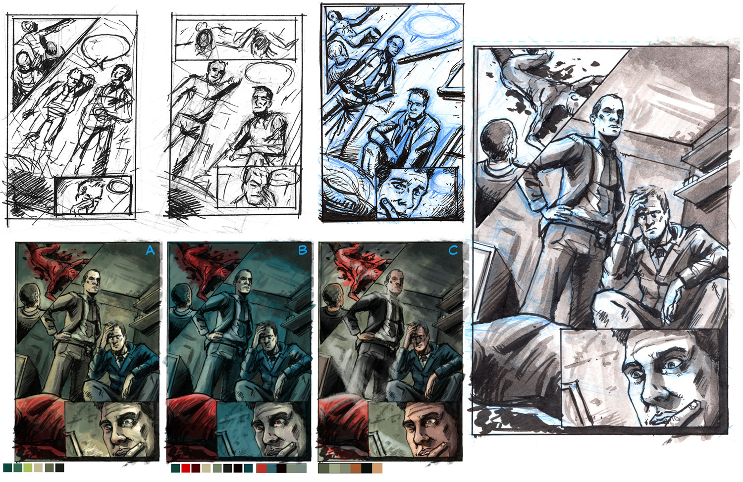 Page Layouts, Colour study and rough