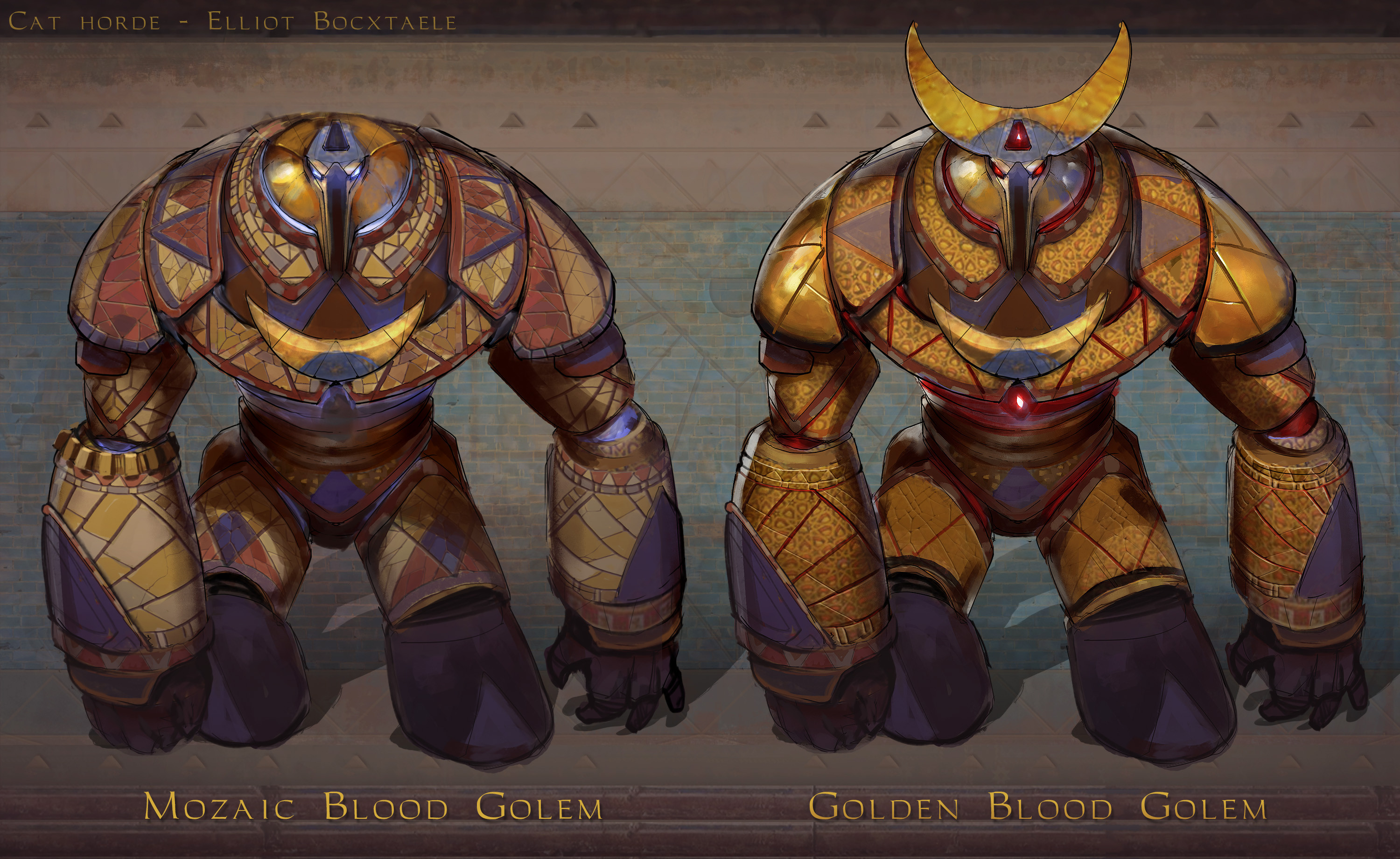 TIER 5 Mozaic Golem. The enigmatic Blood golems are constructed by the skilled craftsmen of the Cat hordes. The Blood Mages then bring them to life by intricate blood rituals supplied from different animal sources, each specimen meticulously picked ...