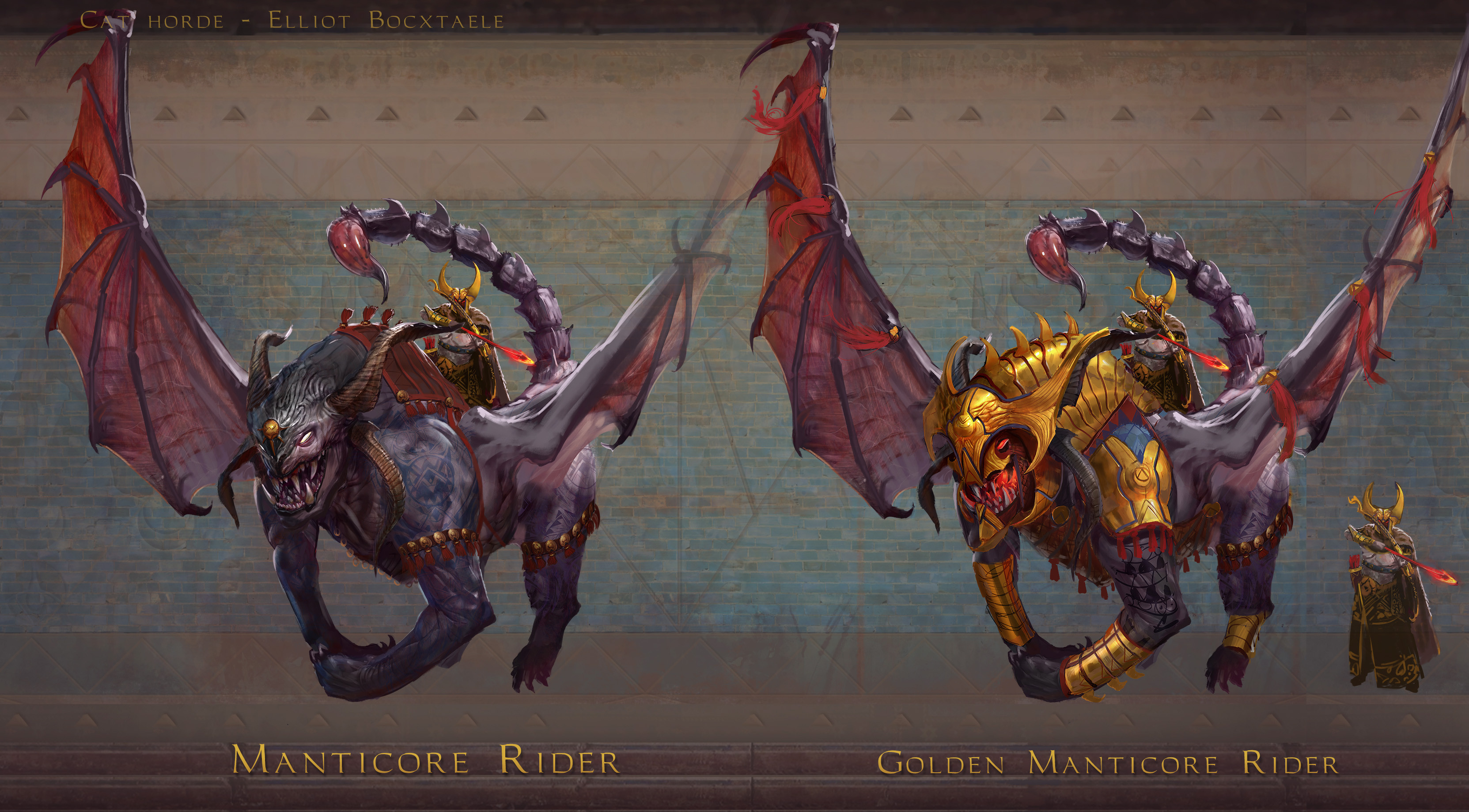 TIER 7 Manticore rider. The dreaded Manticores are formidable demon hybrids empowered by a blood bond. This bond is directly linked to their exceptional highborn riders. Able to maintain stability on these ferocious beasts, they shoot arrows, ...