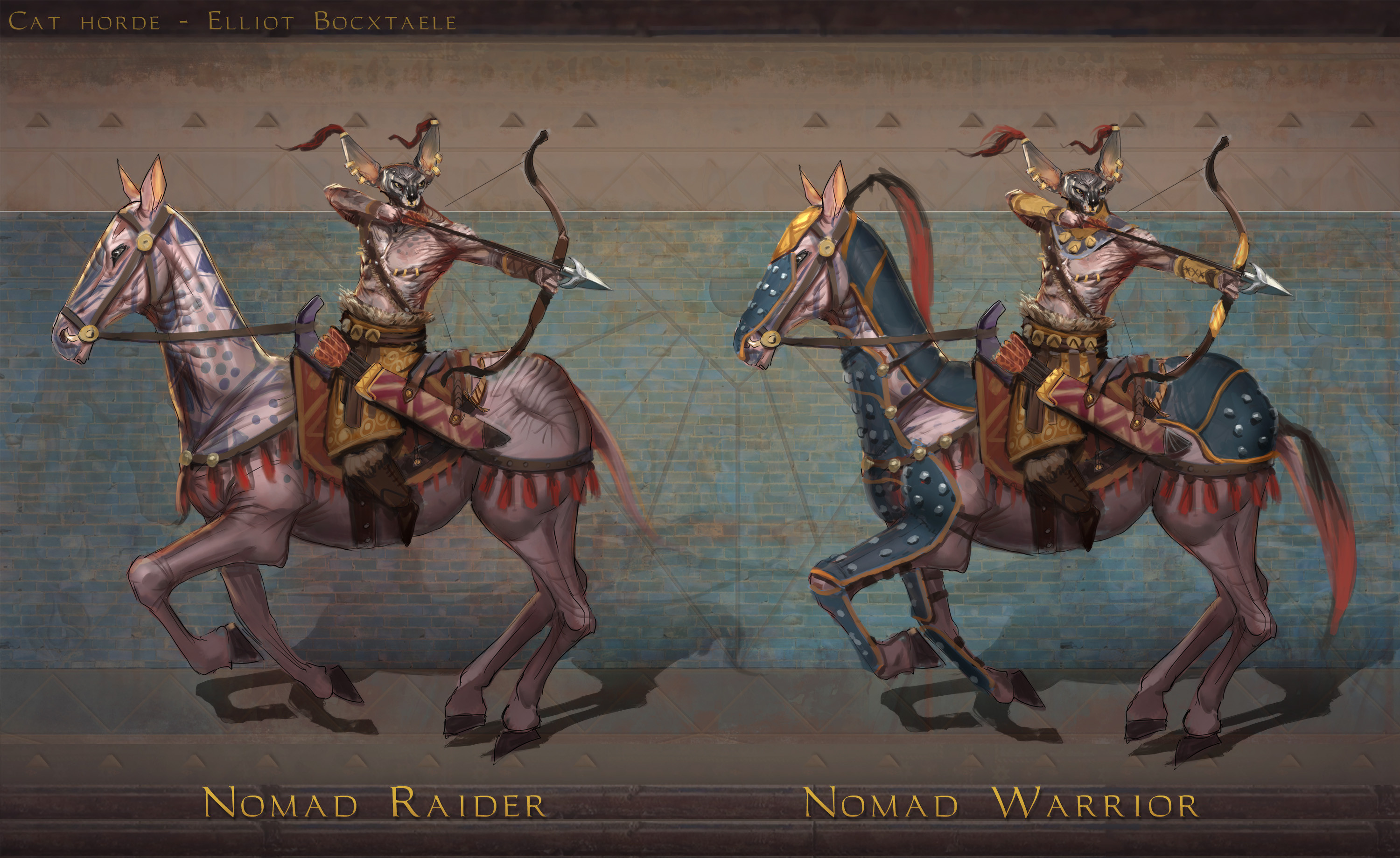 TIER 3 Nomad. The way of the bow and horse was tradition for the Cat Hordes, passed on from generation to generation. While most of the hord's society evolved after the great conquest, some still follow the paths of their ancestors. The free nomads ...