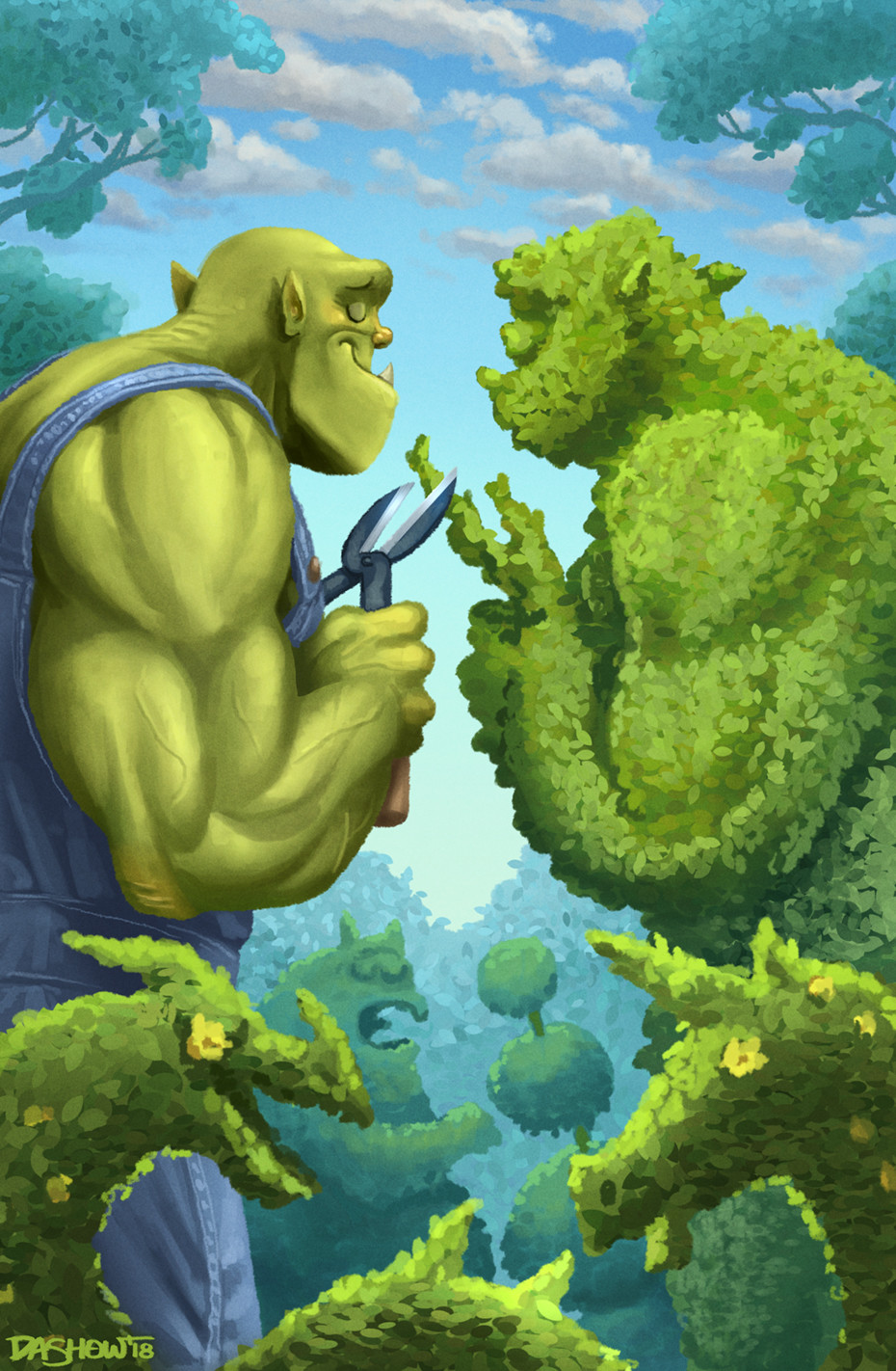 Michael dashow ogre topiary color signed 930x1422
