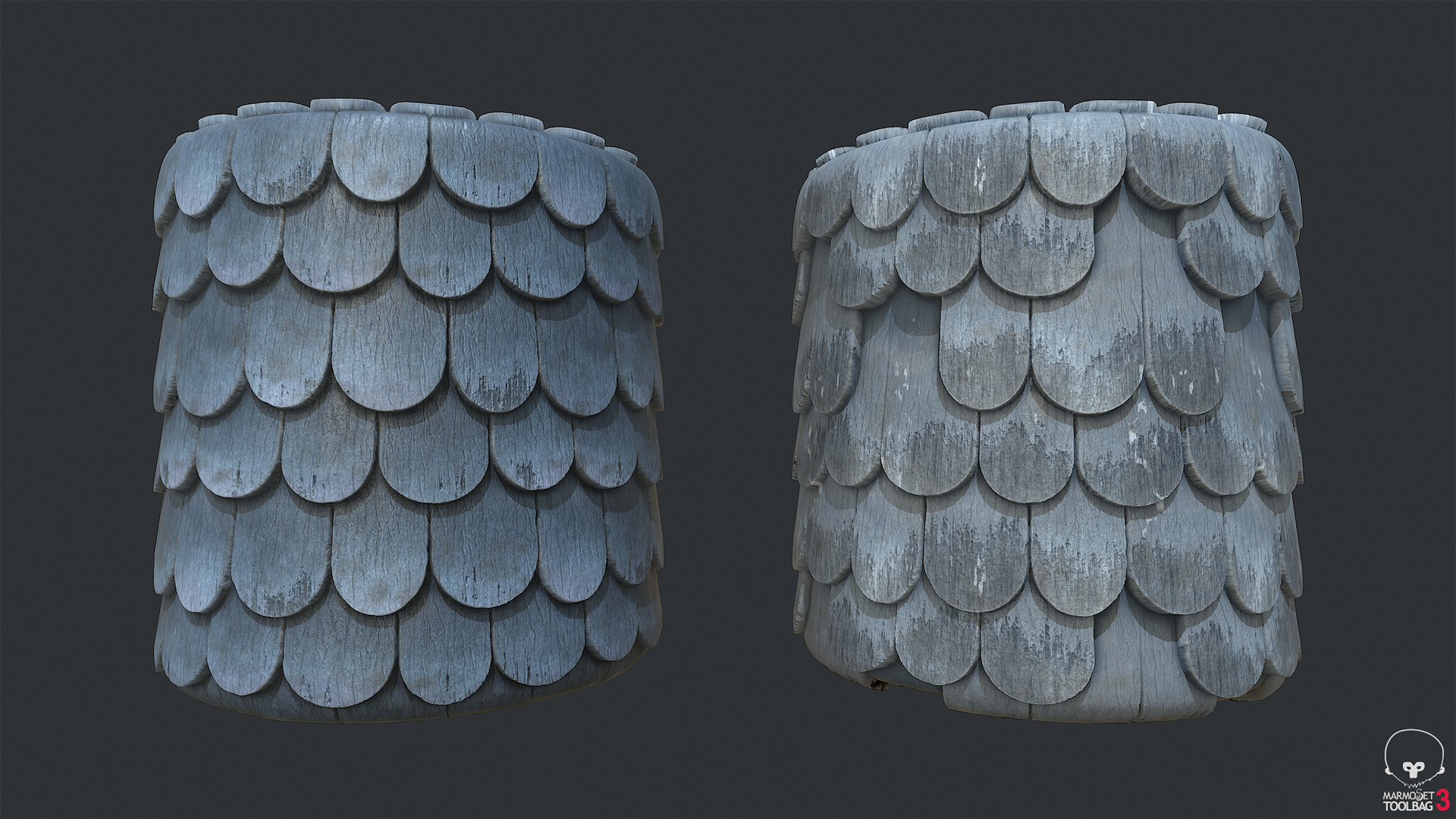 Town Tier 3 Shingles - Round Blue