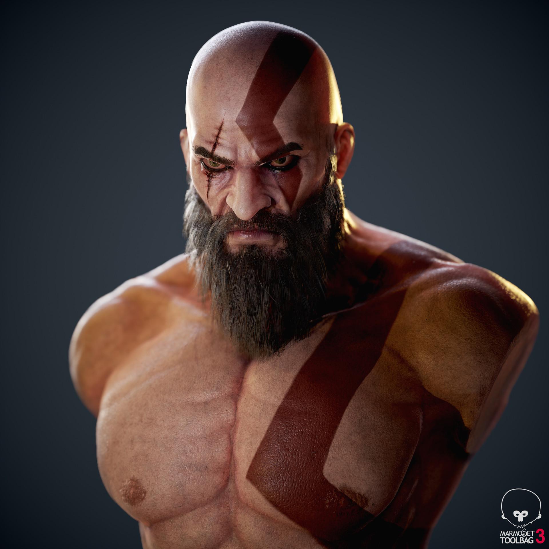 Ferhat Tanman Kratos Bust God Of War Fan Art