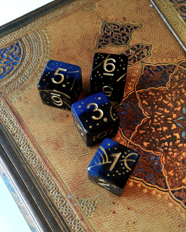 Customised dice to match the character