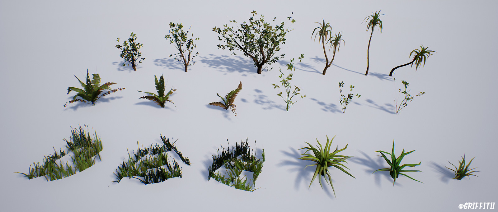 Foliage assets used in the environment