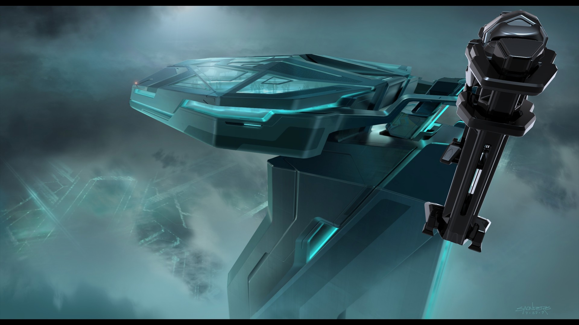 Keyframe of Clu's Recognizer docked at the End of Line Club.