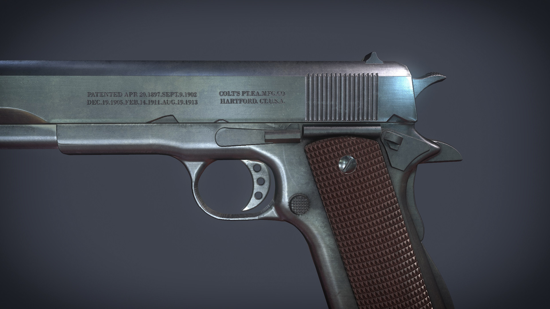 ArtStation - M1911 Handgun - 100% Substance designer (literally