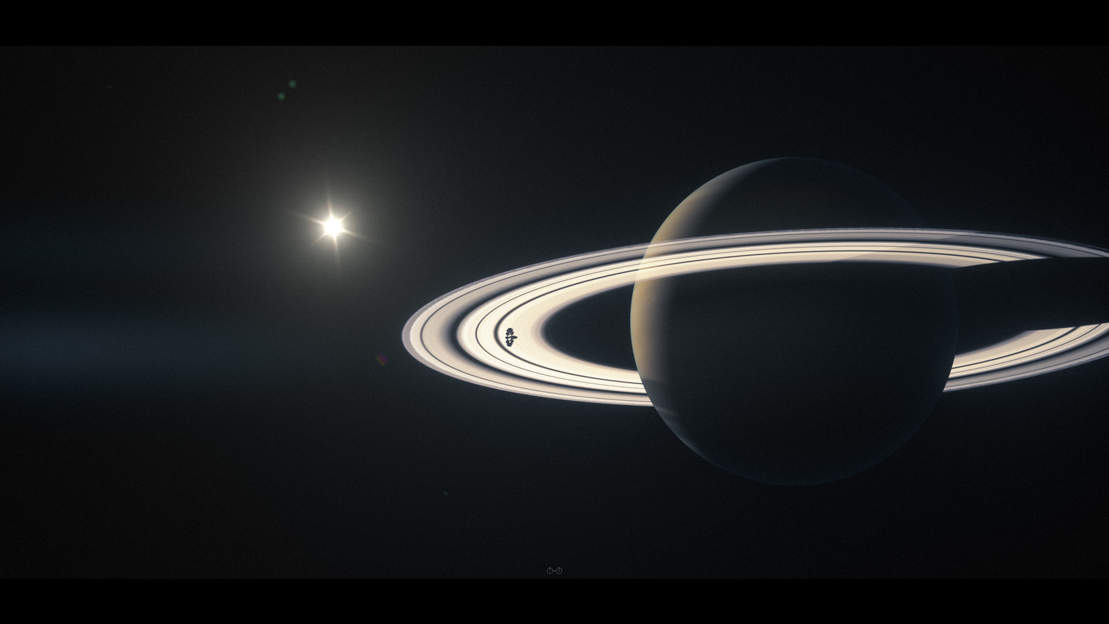 The Endurance orbiting Saturn
