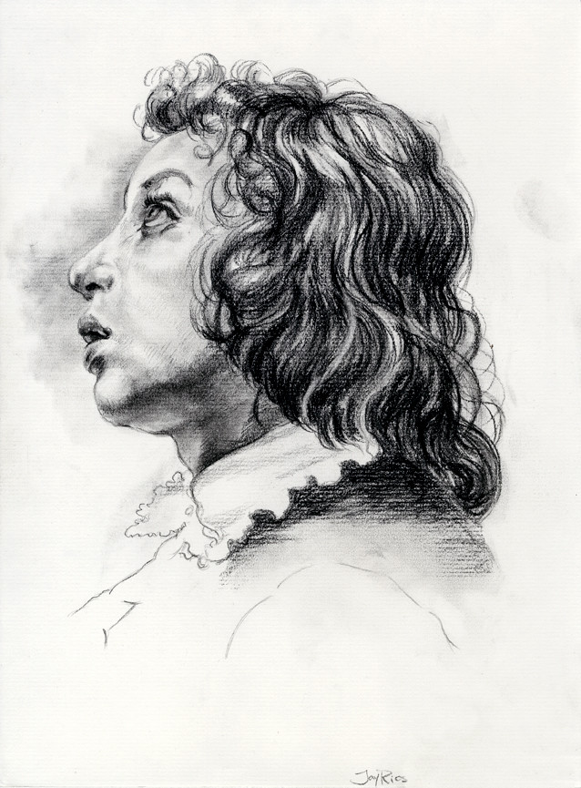 Charcoal, master copy after Carlo Dolci.