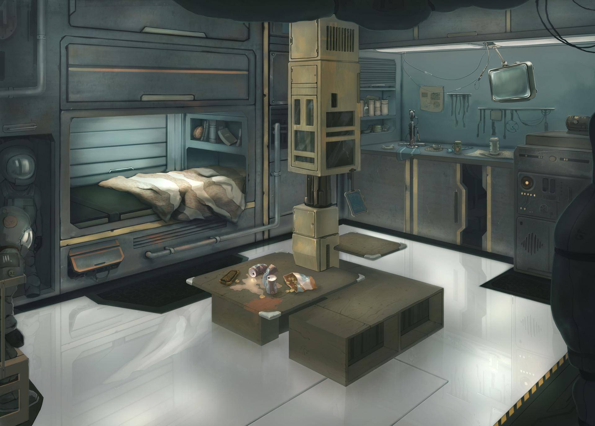 Fladik Gabdrakhimov Spaceship Interior Concept Art