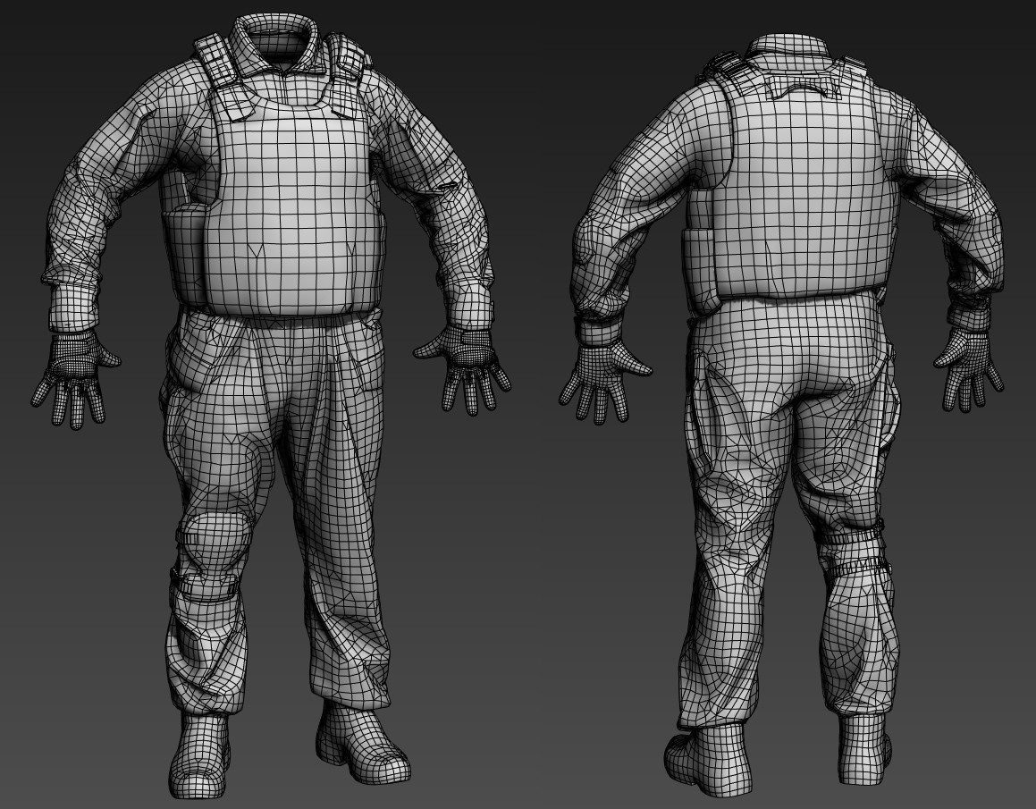 Step 4: It's time to decimate the clean highpoly asset down into a runtime model. Don't be shy to involve a rigger or animator for an advice on topology that keeps in mind geometric deformations during animation.