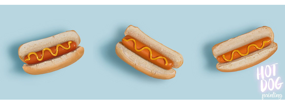My Hot Dog painting after 5h