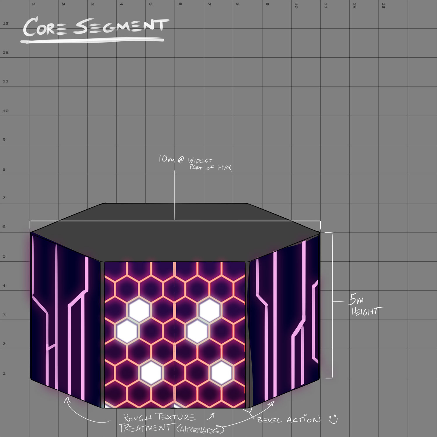Concept for the core hexagonal segment to be used as the building block for the scene.