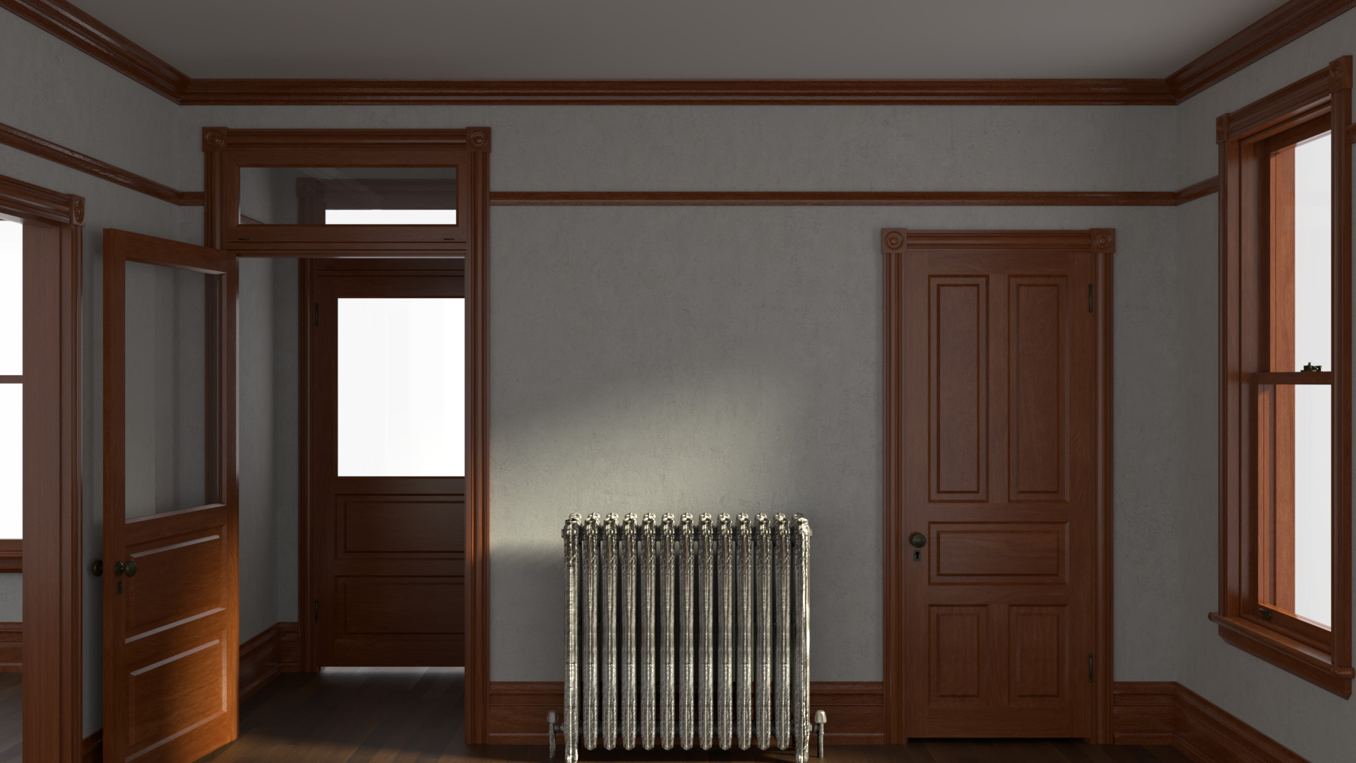 I modeled this room after my own foyer. It uses both this door set and the window set mentioned in the project description. That radiator was a great accomplishment when I made it... oh well.