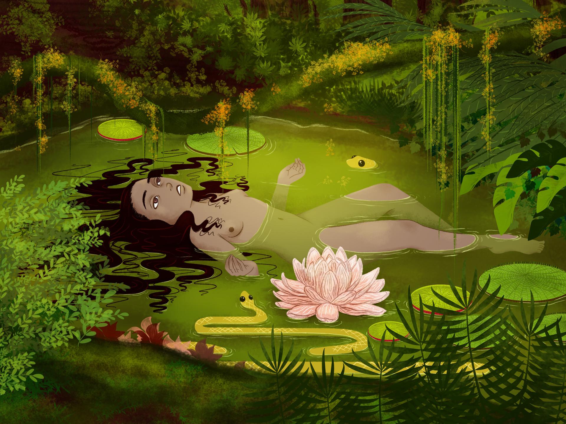 "My amazonian version of ""Ofelia"" of John Everett Millais ♥"
