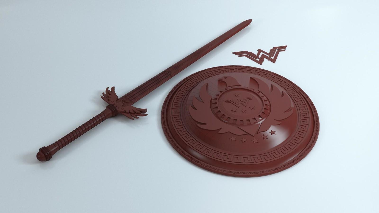 Wonder Woman Sword & Shield Wire-frame