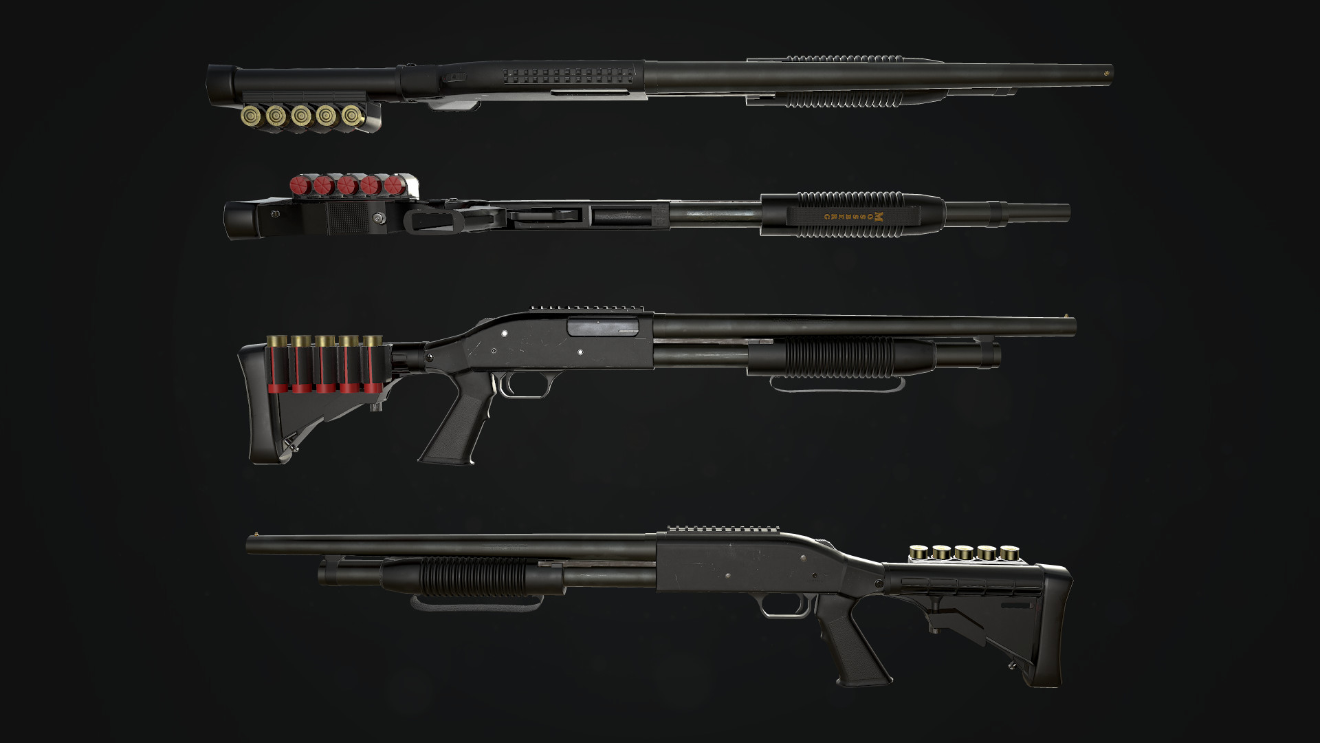 Beauty shots of shotgun, rendered in Marmoset Toolbag 3