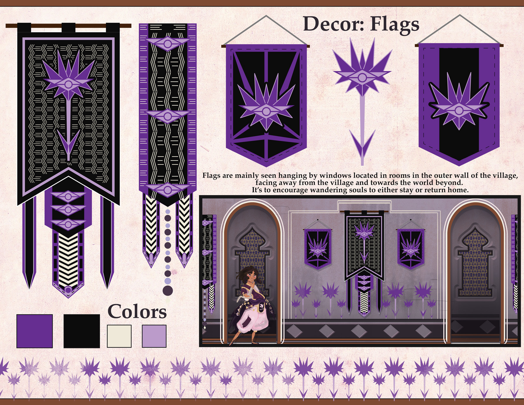 Flags are mainly seen hanging by windows located in rooms in the outer wall of the village,