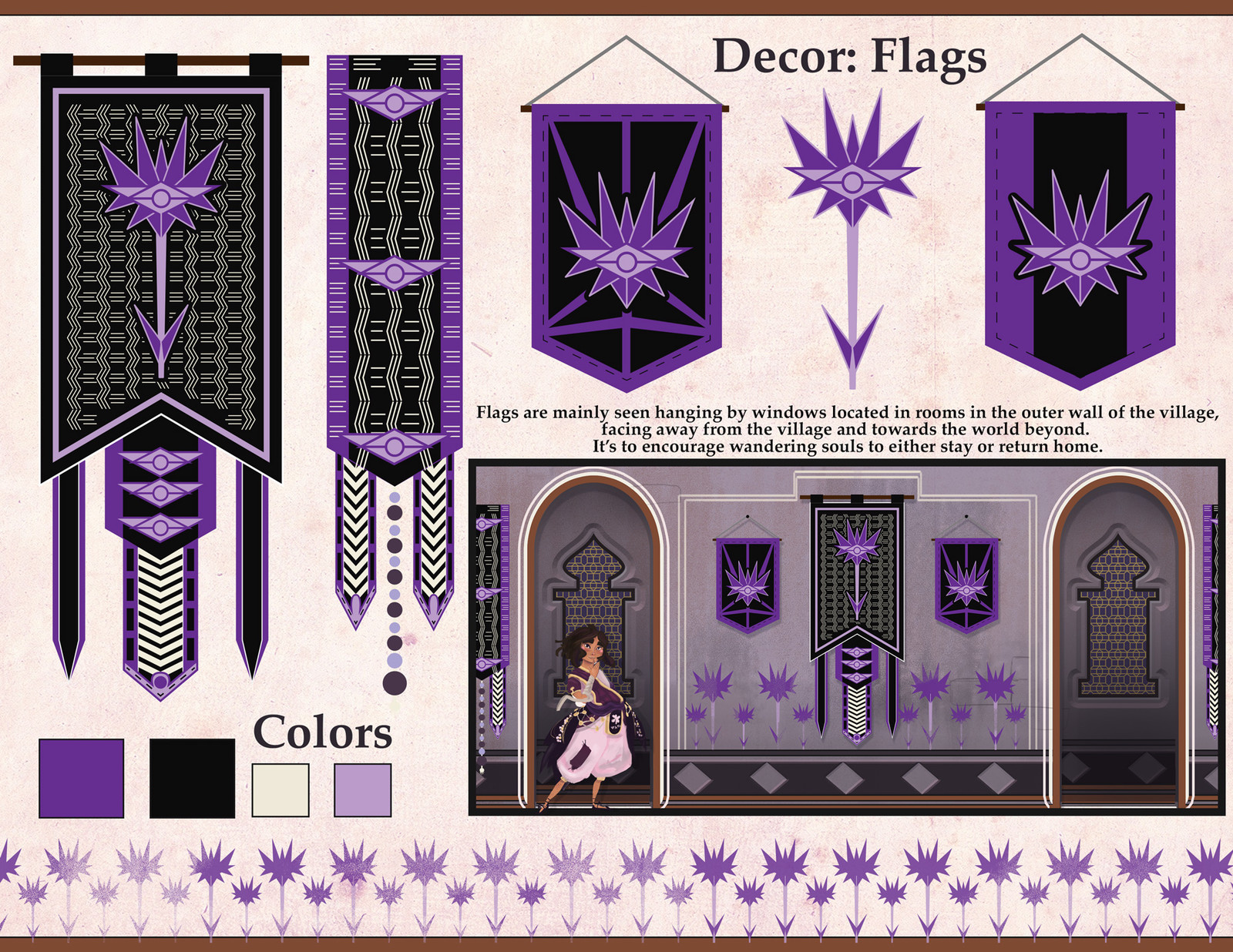 Flags are mainly seen hanging by windows located in rooms in the outer wall of the village, facing away from the village and towards the world beyond.  It's to encourage wandering souls to either stay or return home.